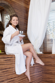 Damen Bademantel ohne Kapuze