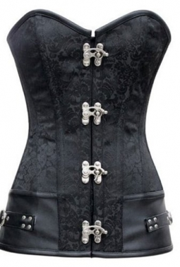 sexy Vintage Corsage schwarze Korsett Steampunk Corsagentop Gothic Steampunk, schwarz,  L - 1